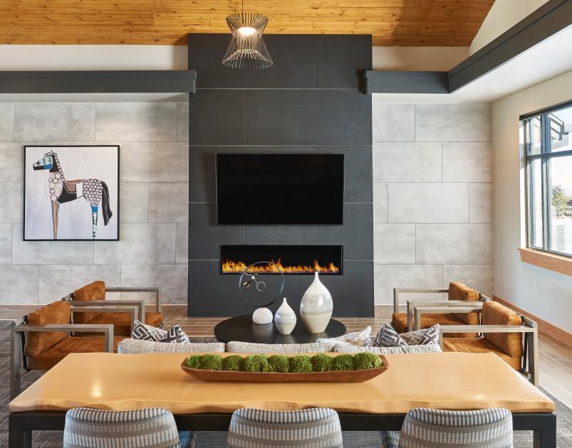 Amenity center fireplace