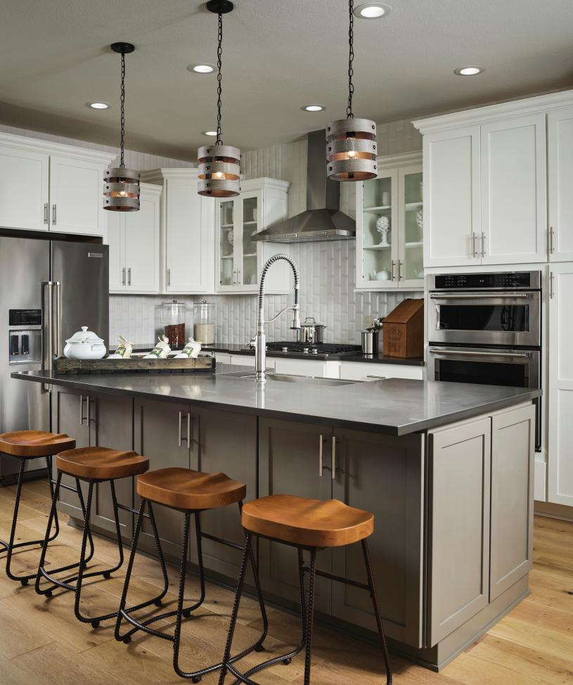 Haywood kitchen with center island open to great room and dining