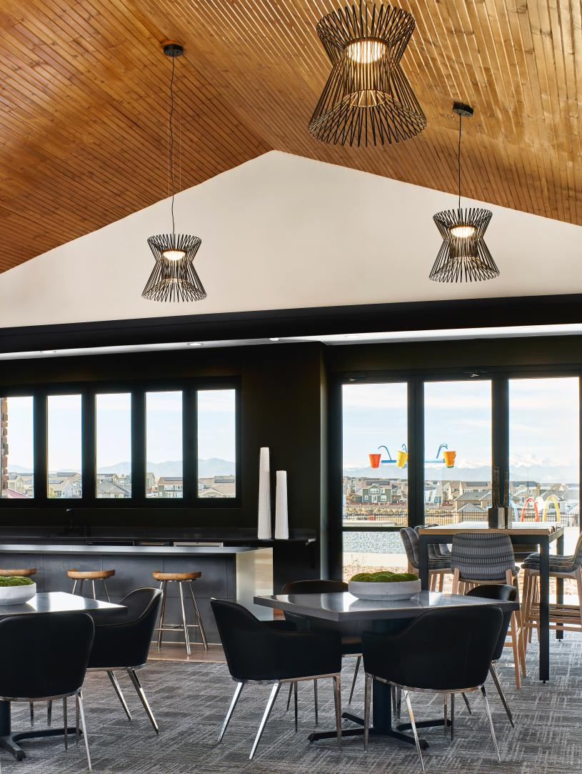 North Hill clubhouse kitchen space open to beach entry pool
