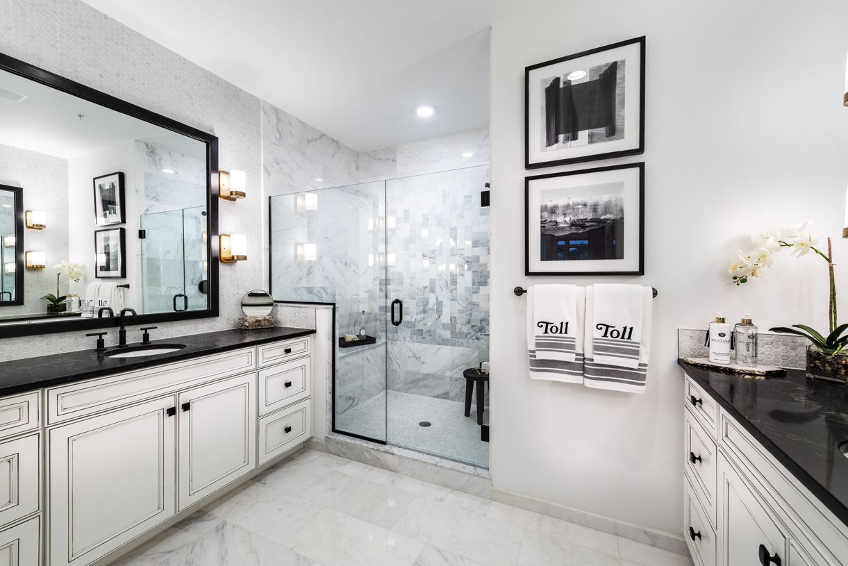 Stunning Kington primary bath with large shower and dual vanities