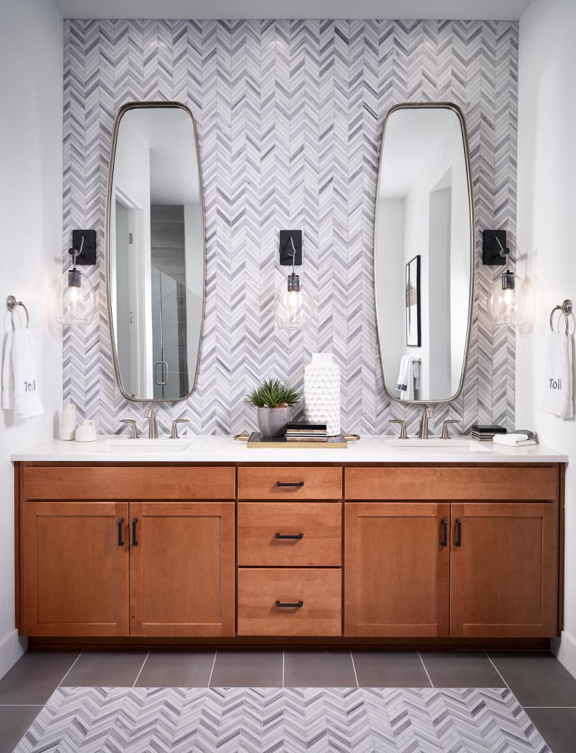 Whitley restful primary bathroom with dual vanity