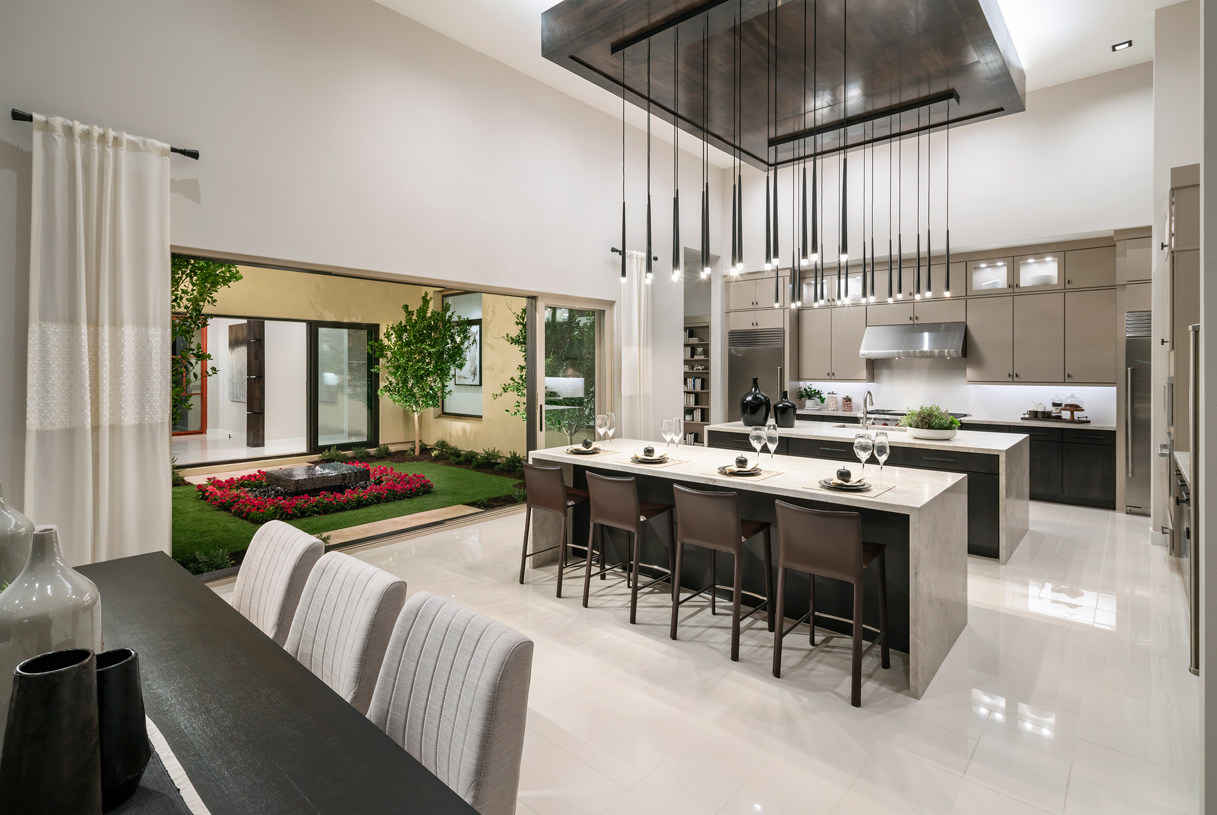 Stunning kitchens with views of the atrium