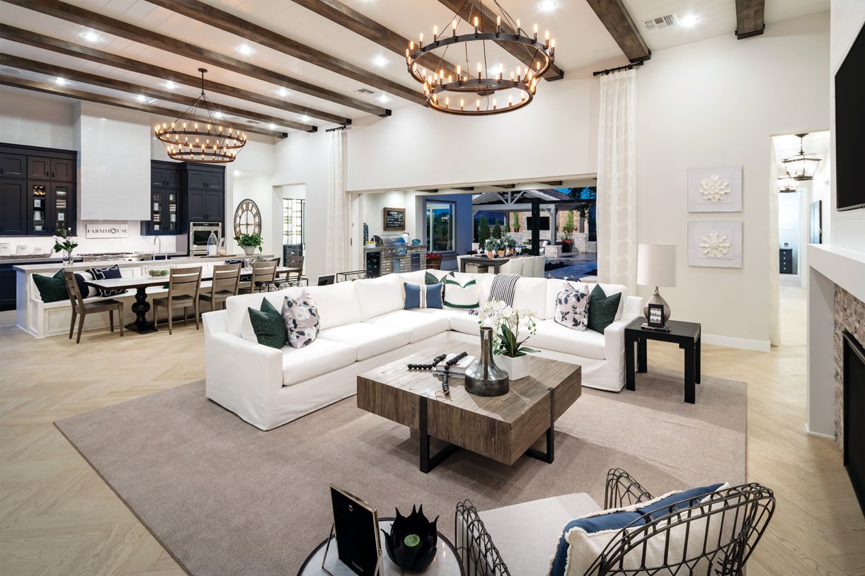 Open concept great rooms with multi-slide doors that is ideal for indoor outdoor living