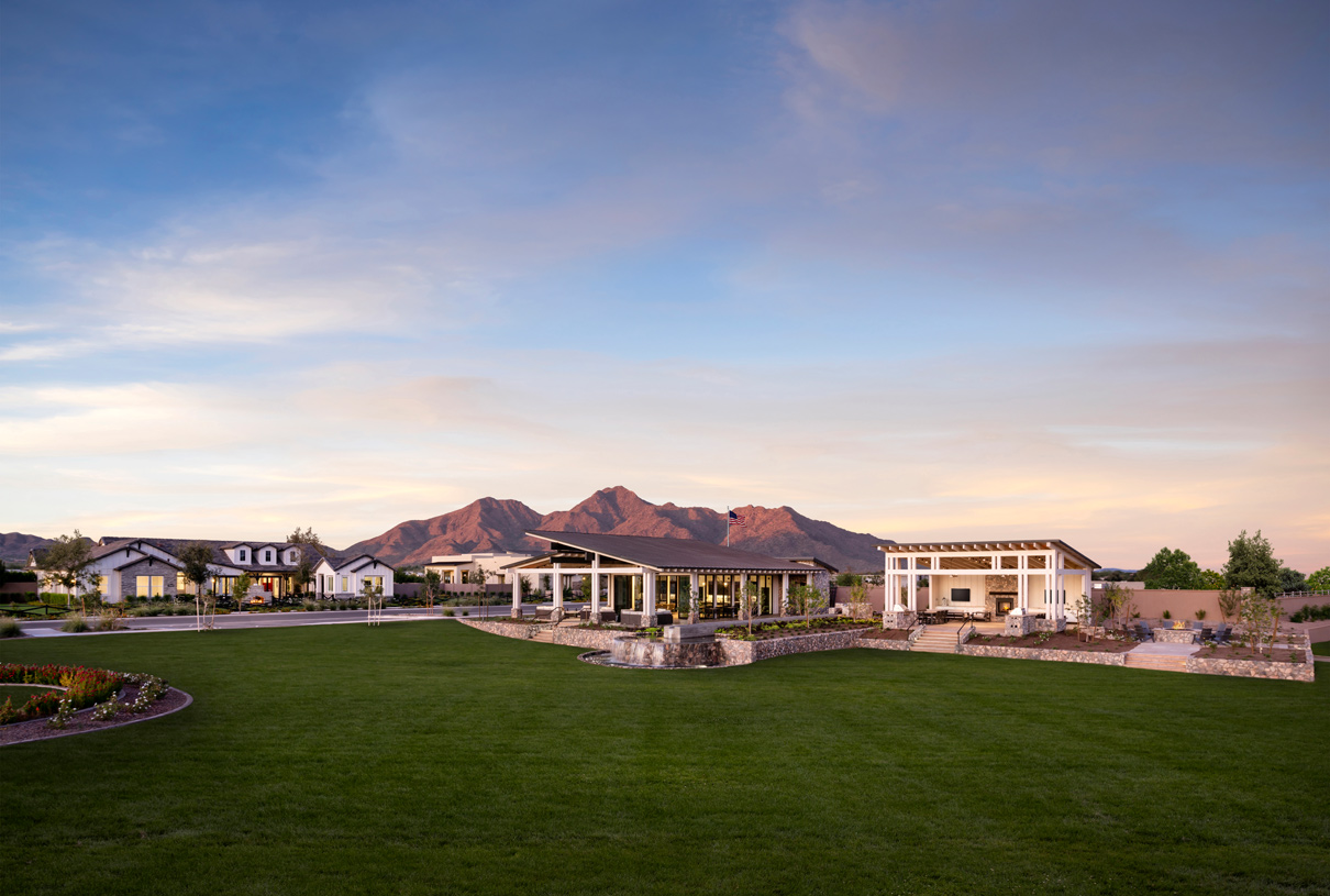 Community greenbelt and views of the clubhouse and outdoor fireplace
