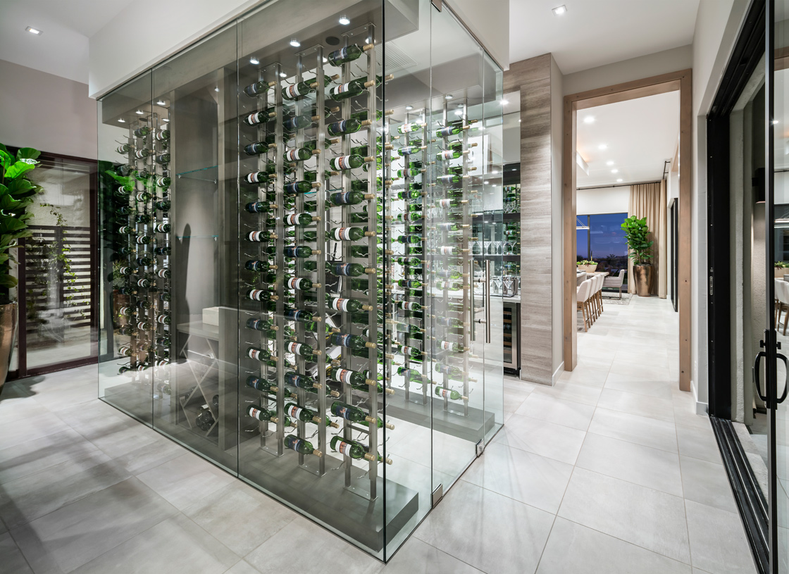 Beautiful wine room overlooks a central courtyard