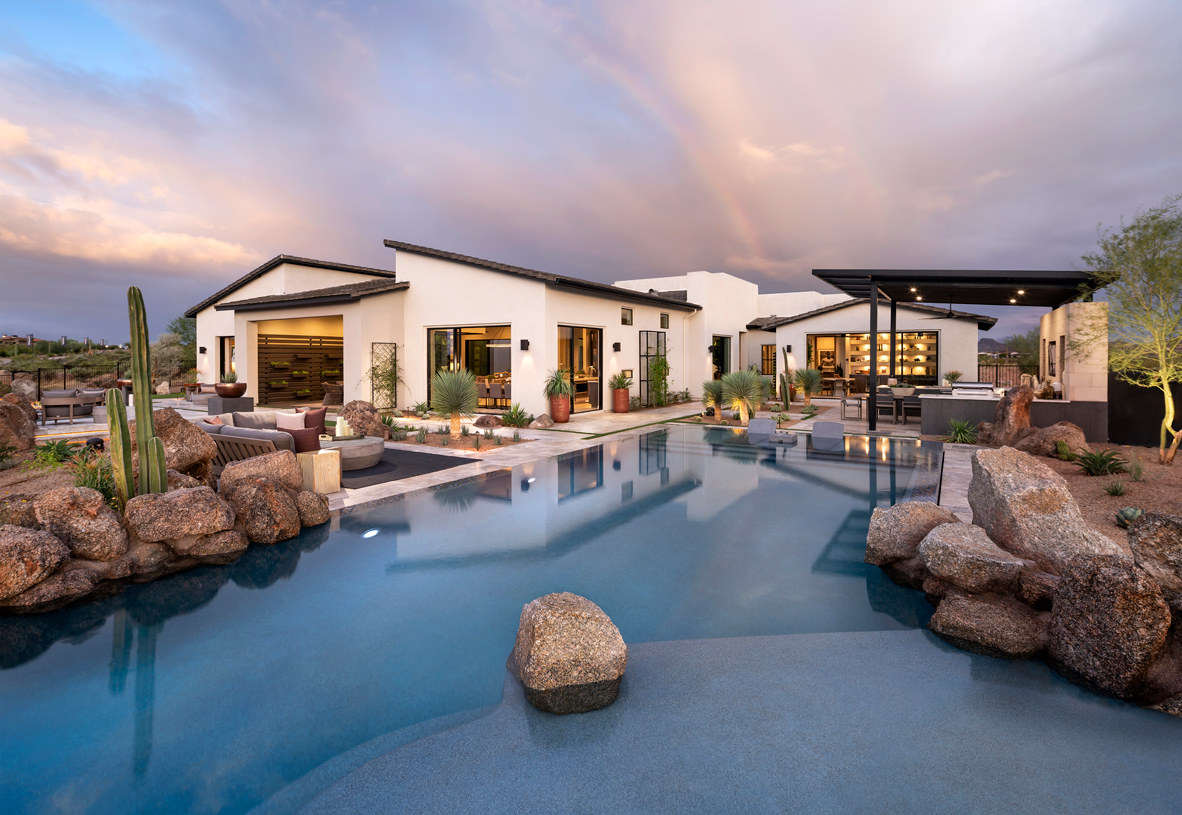 Stunning resort-style backyard with pool and outdoor kitchen