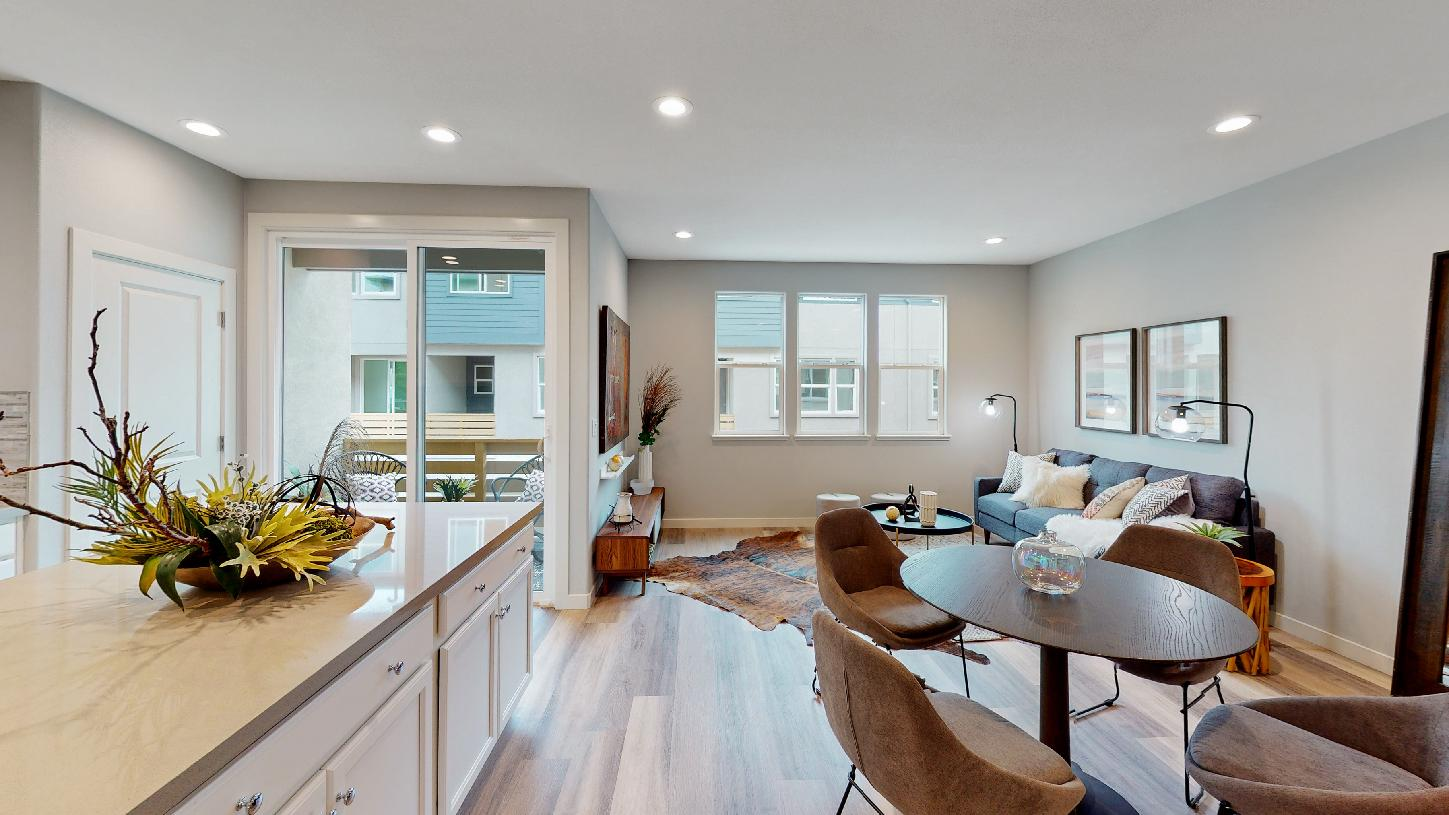Parkside living area and kitchen with terrace
