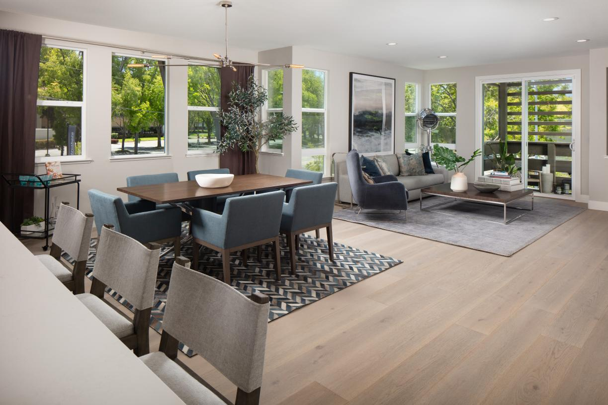 Private covered balcony off the open floor plan living area