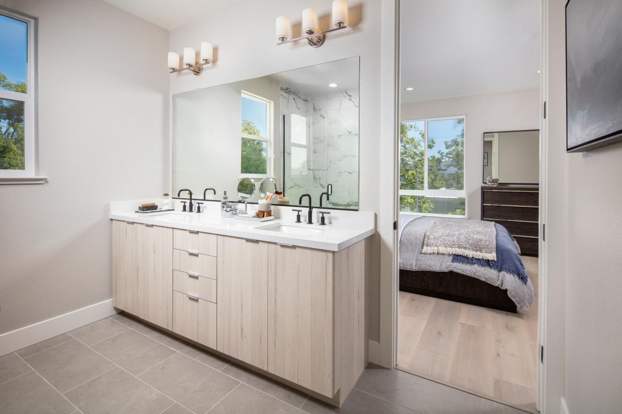Primary bathroom with dual vanities