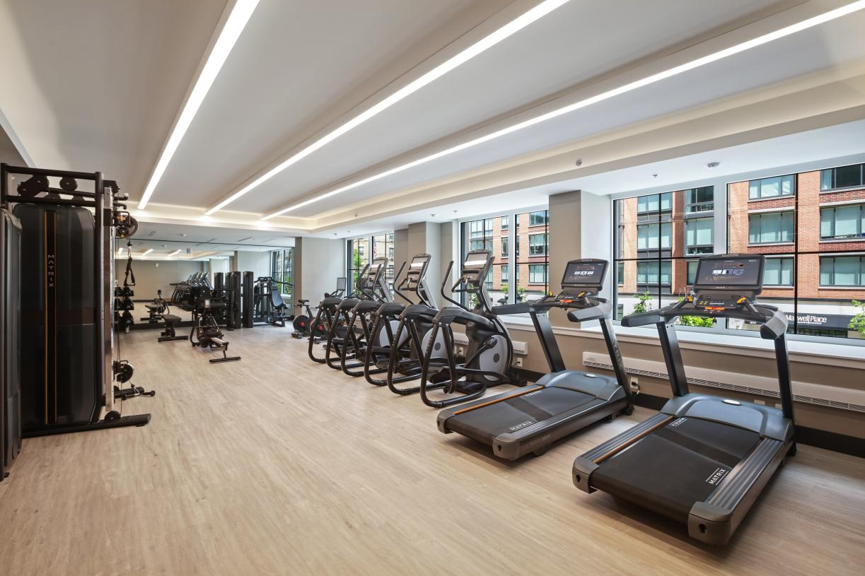 Work out in the second-floor fitness center