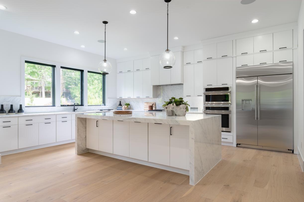 Sunlit, expansive gourmet kitchen