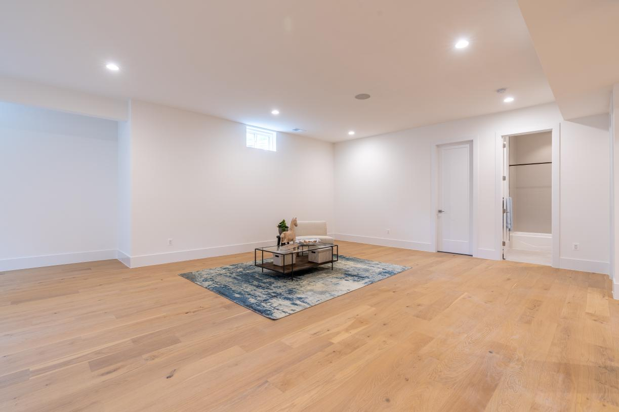 Spacious lower level recreation room with full bath
