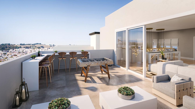 Nouveau rooftop terrace