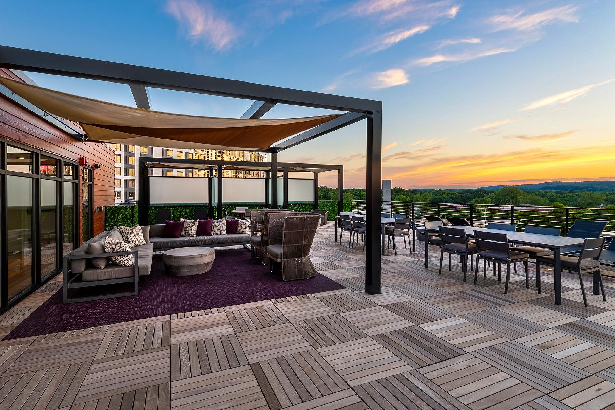 Rooftop lounge with beautiful sunsets
