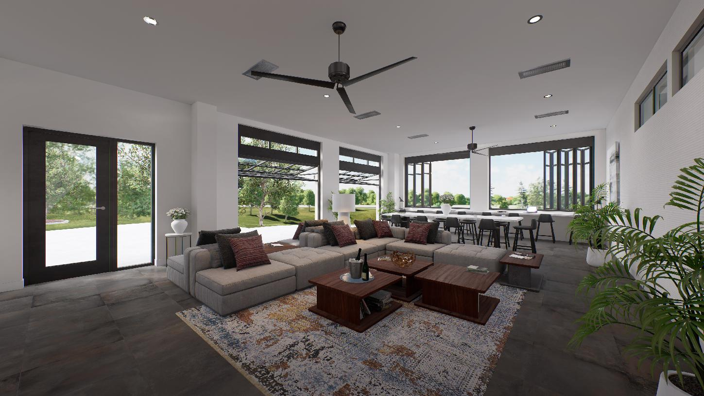 Lounge area on first floor with access to outdoor terrace