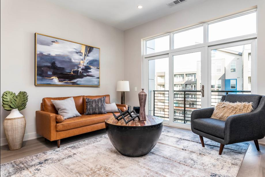 Sunlit Great Room Opens to Private Balcony