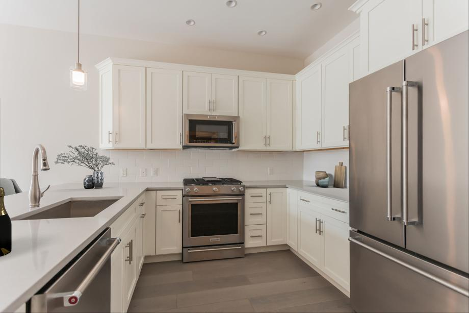 Well-appointed kitchen with stainless steel KitchenAid appliances