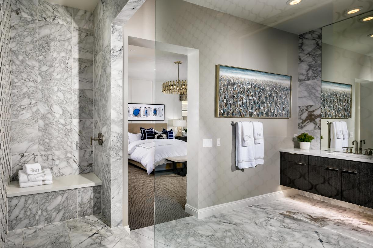 Spa-like primary bath with large walk-in closet