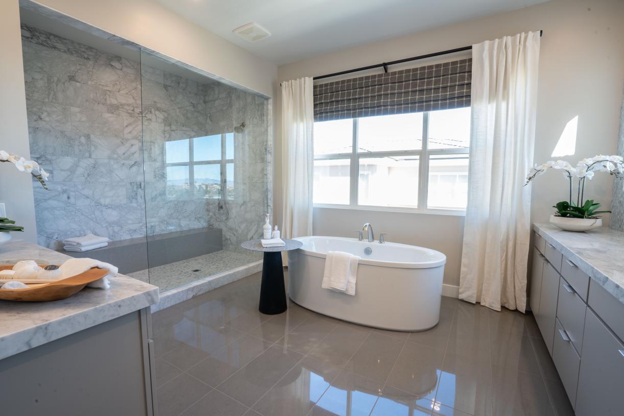 Spa-like primary bath with dual vanities