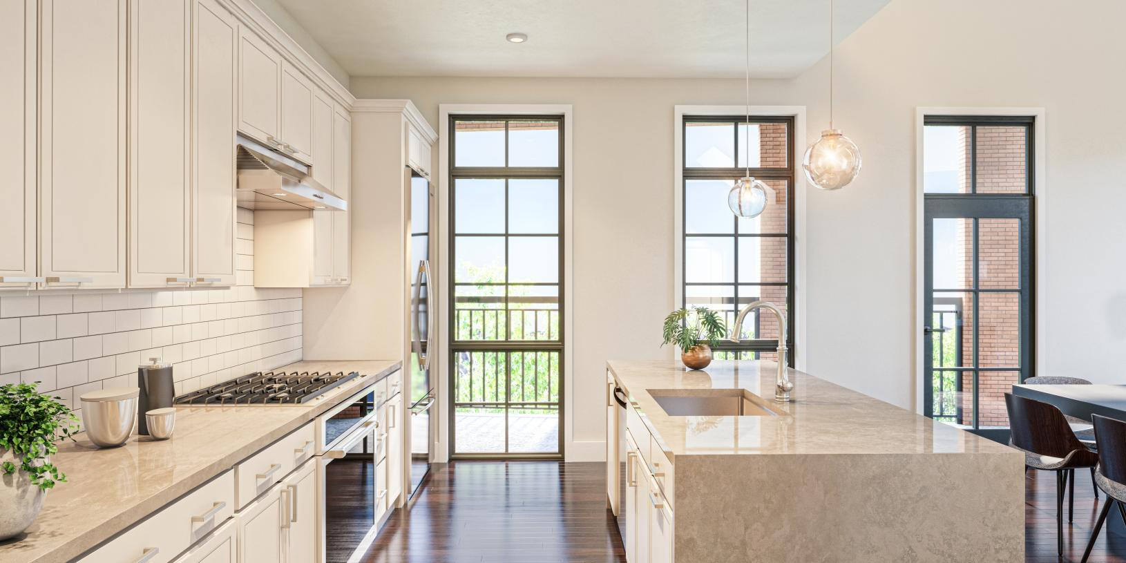 Stunning kitchen with large windows for natural light