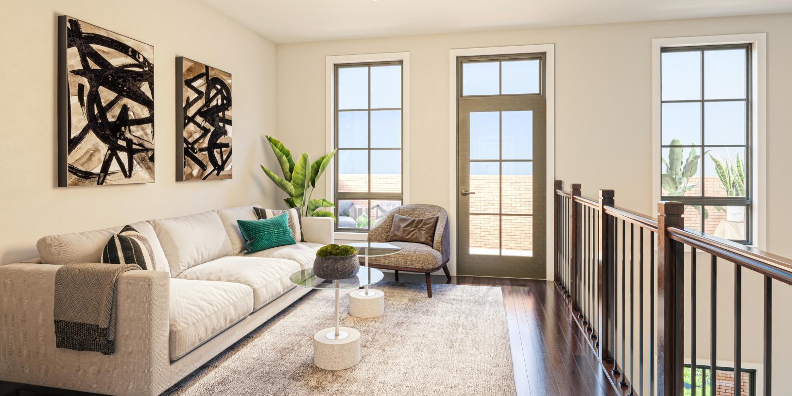 Upper level loft perfect for a secondary living area or cozy home office space