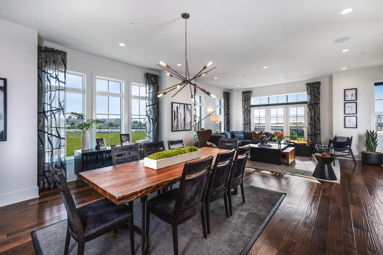 Dining room with upscale lighting fixtures and open-concept floor plan