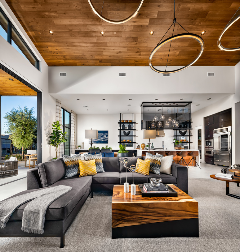 Expansive great room opens to kitchen