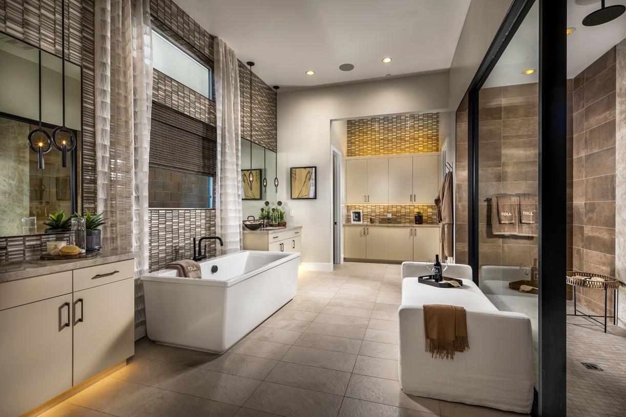 Impressive primary bath with free-standing tub