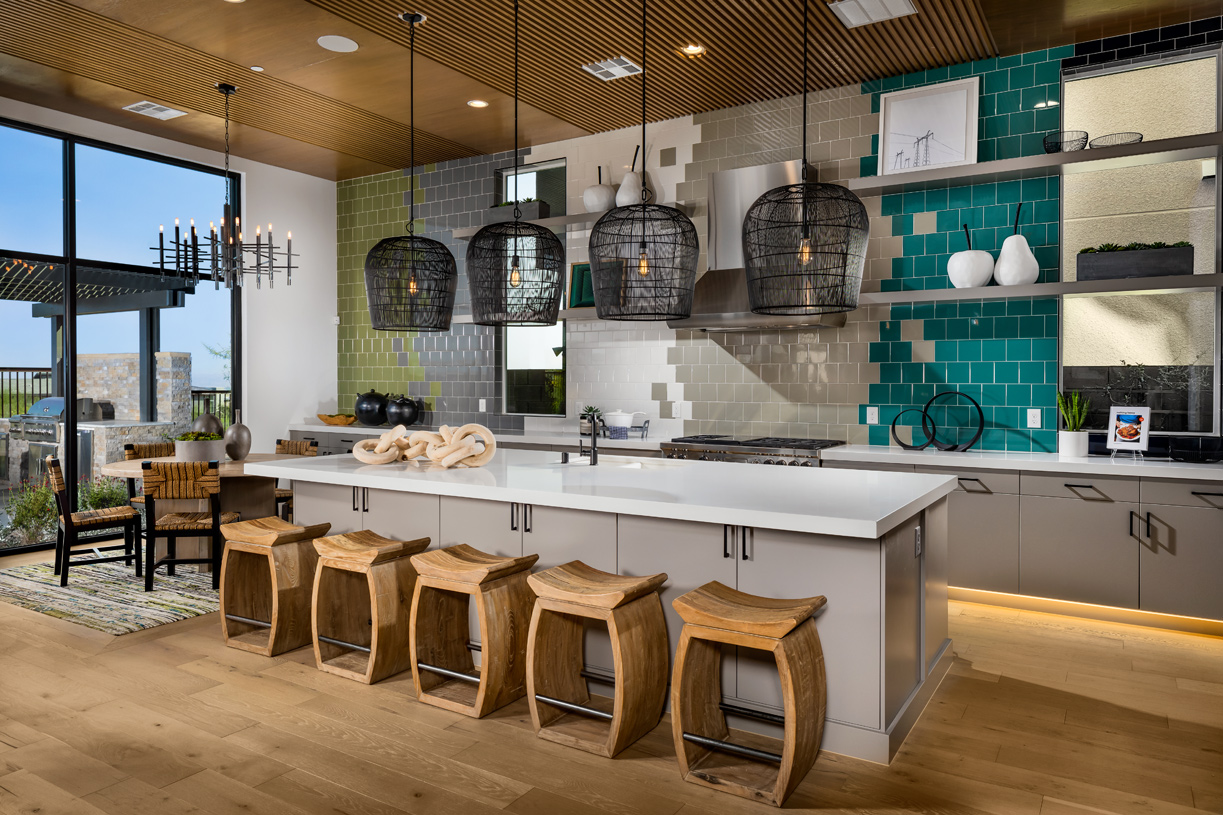 Well-equipped kitchen is enhanced by a large center island