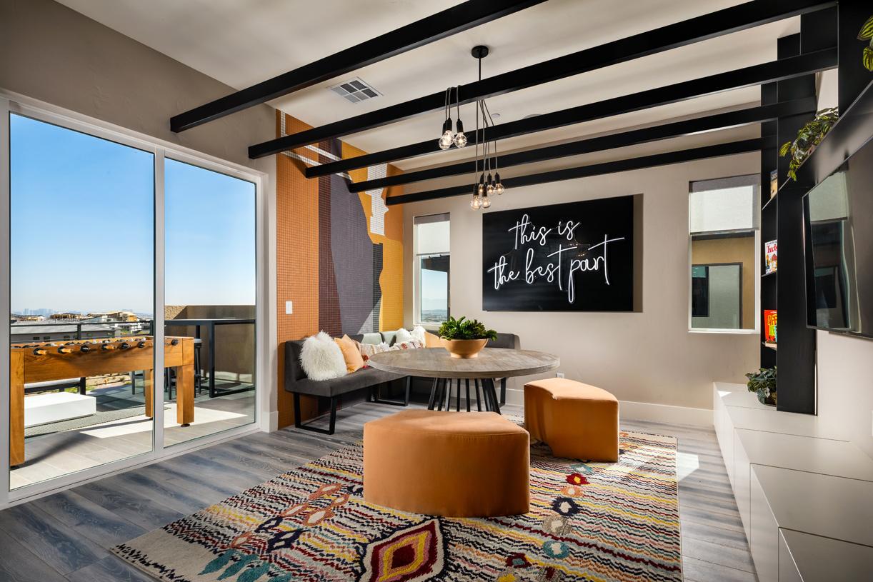 Second-floor bonus room with deck access
