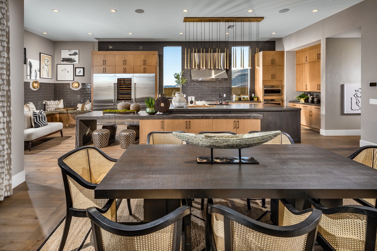 Gourmet kitchen with a bright casual dining area