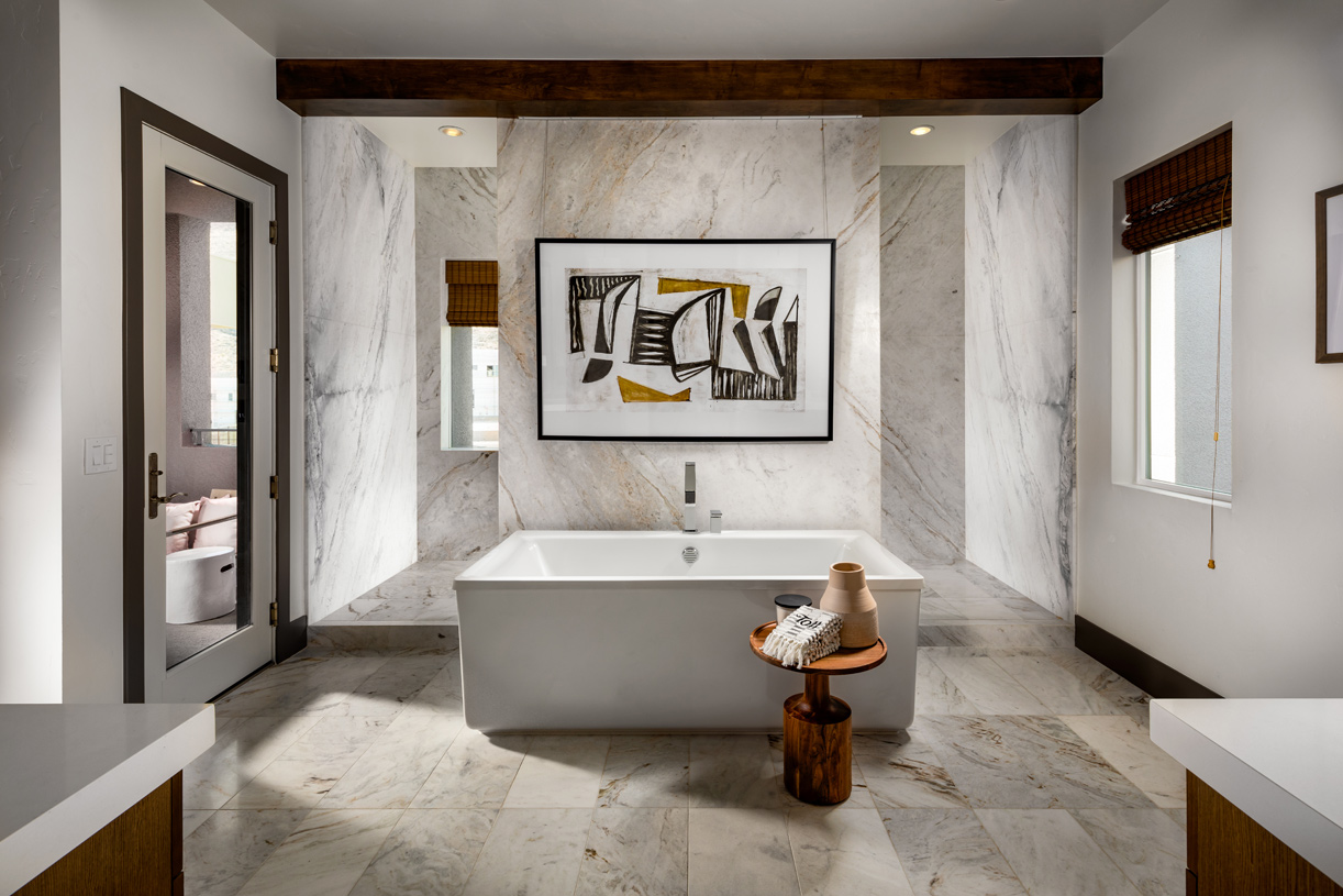 Primary bath with dual vanities and large soaking tub