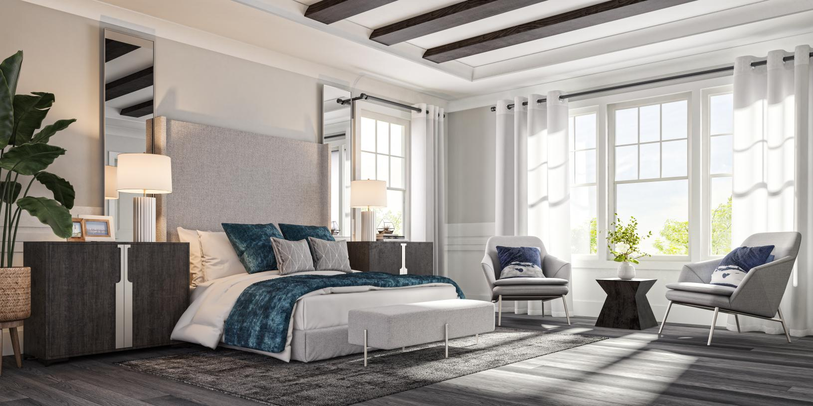 Relaxing primary bedroom suite in the Carlough