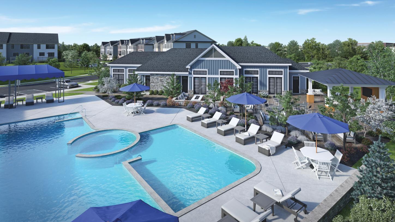 Community clubhouse, outdoor pool, pergola