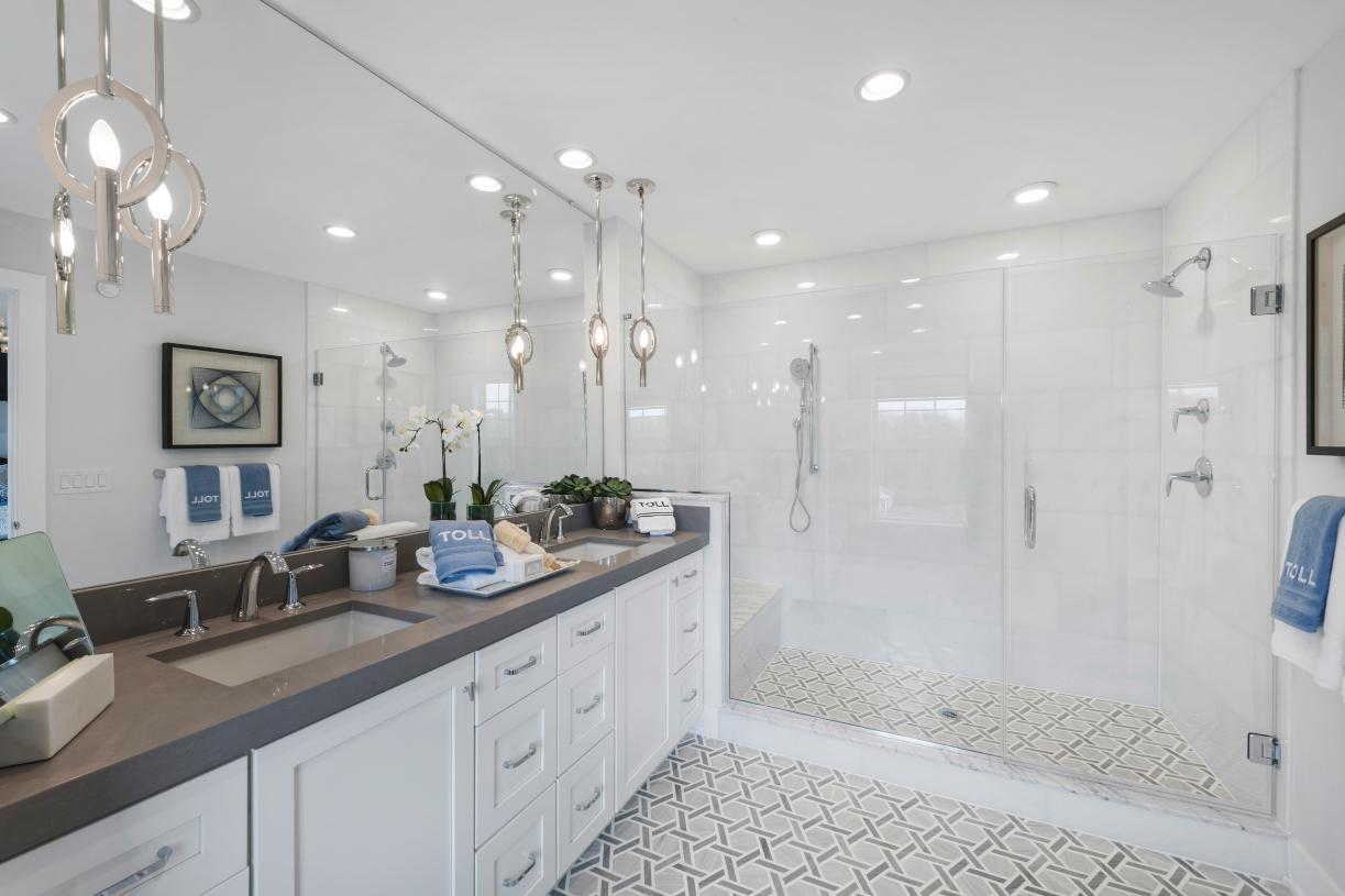 Primary bath with large shower and Kohler fixtures
