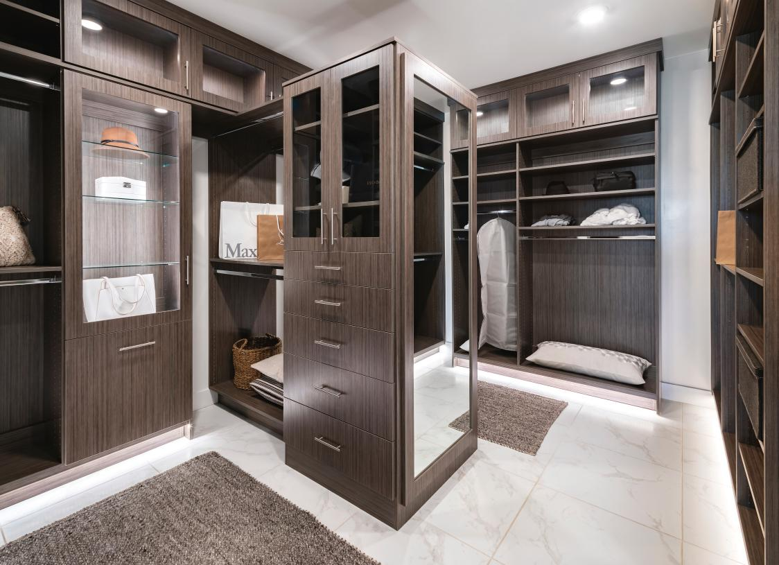 Spacious primary closets with luxury in every detail
