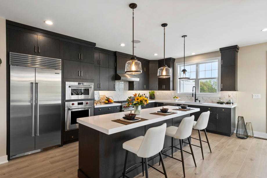 Gourmet kitchen with large center island