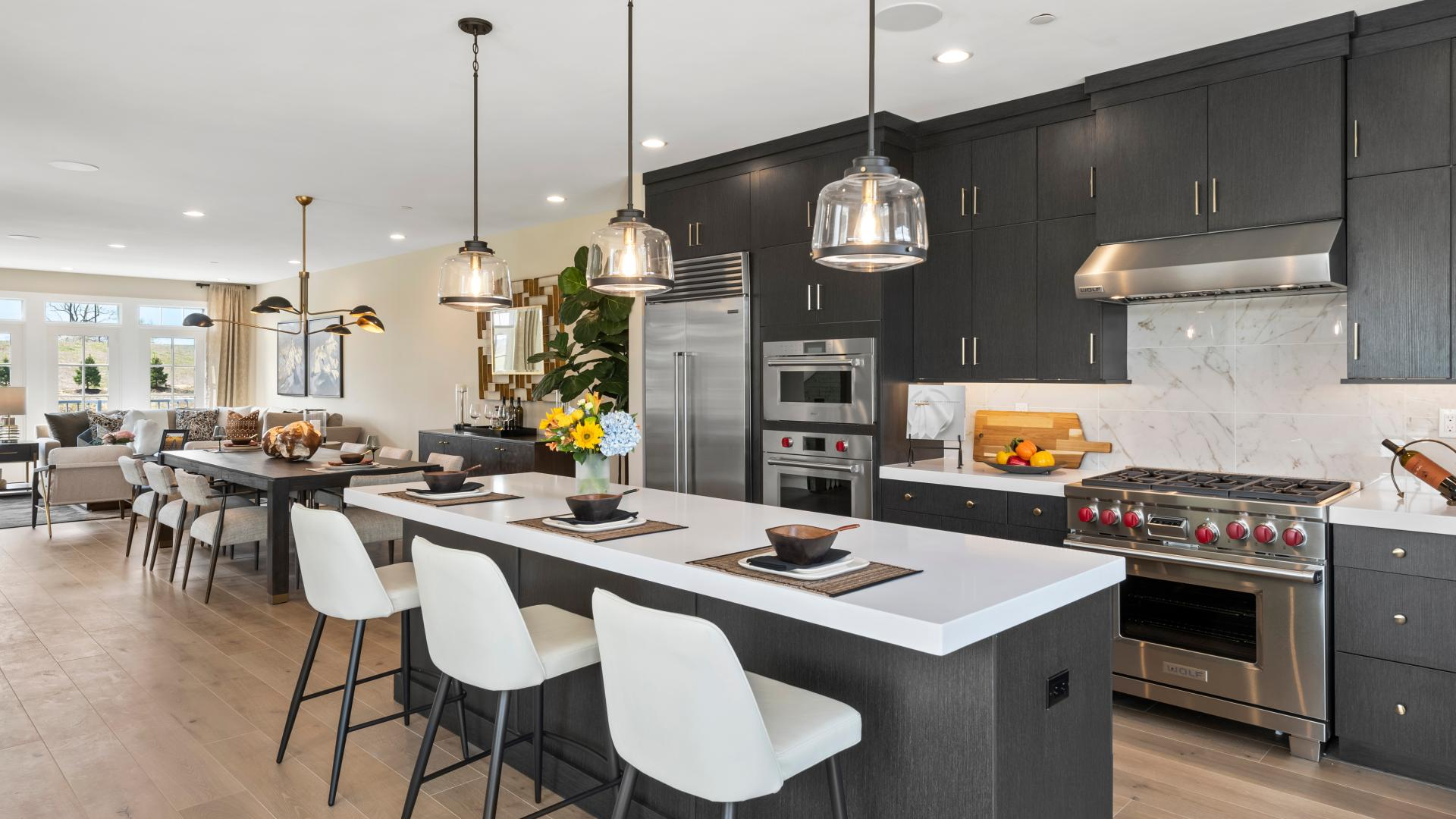 Dansfield open plan with expansive dining area adjacent to the gourmet kitchen