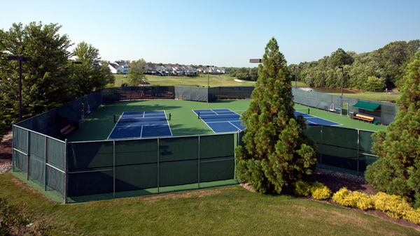 Three pickle ball courts at the Regency at Monroe clubhouse
