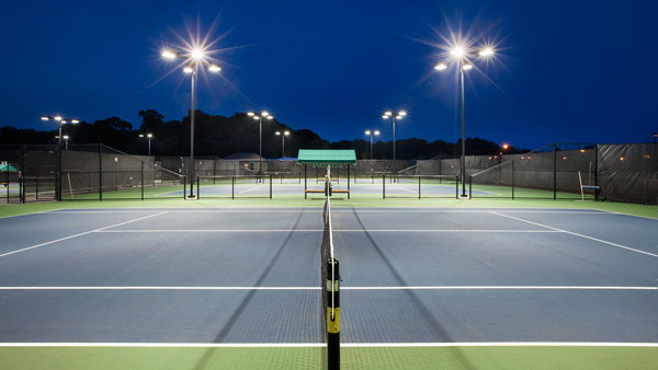 The state-of-the-art Regency at Monroe tennis pavilion with six lighted courts