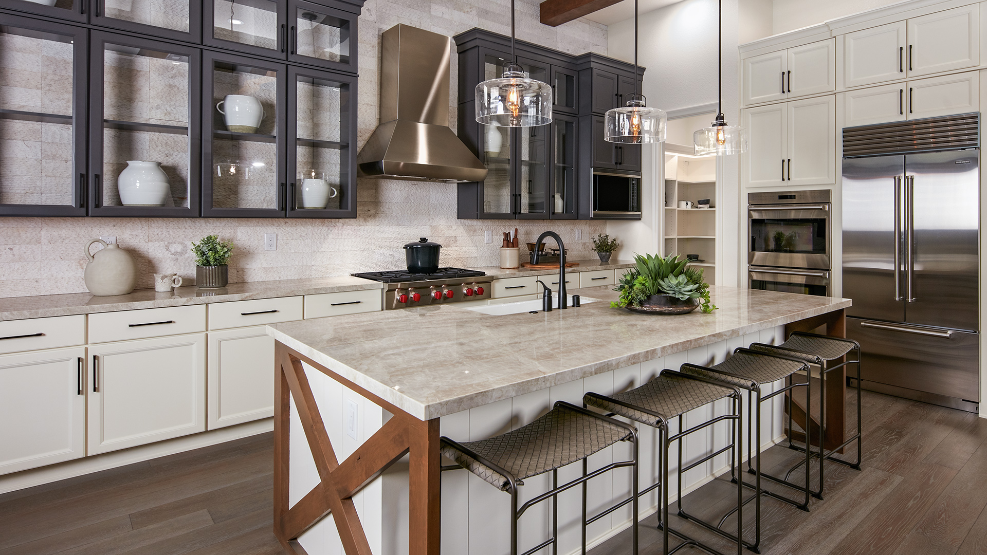Allure kitchen with gourmet appliances and oversized pantry