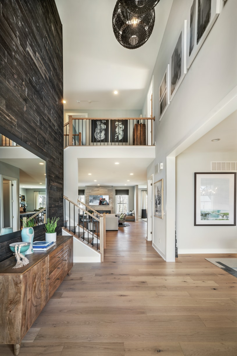 Soaring two-story foyer with views of the great room