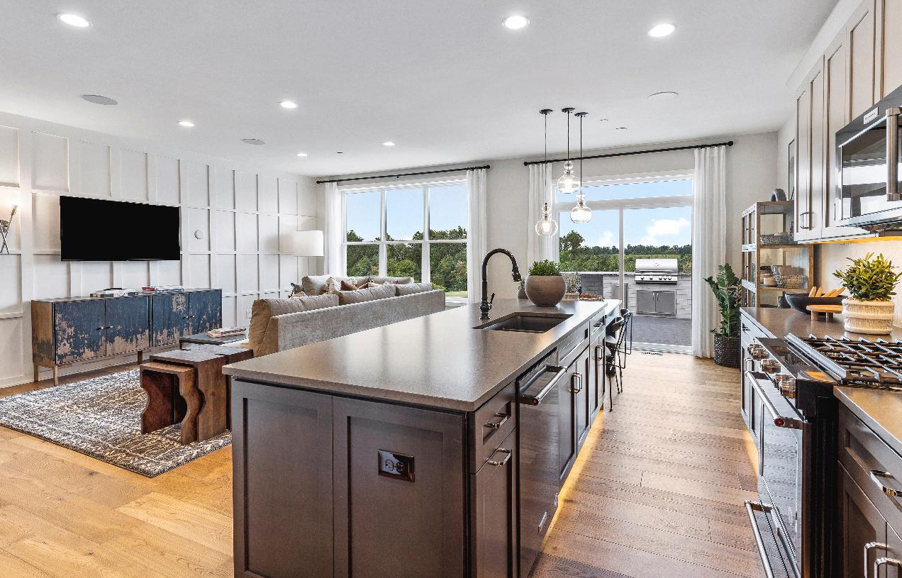 Barbour kitchen with large center island and casual dining area