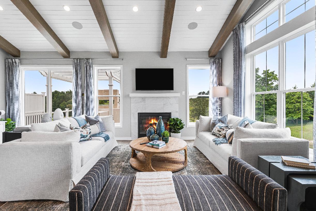 The living room allows for plenty of light