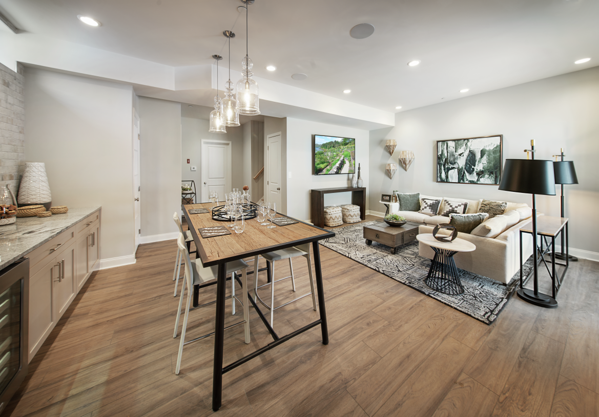 A finished basement provides additional living space, great for entertaining