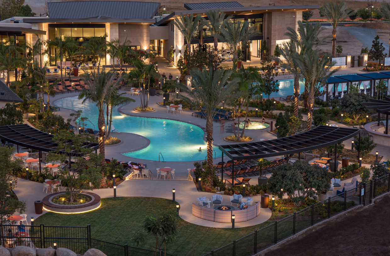 8,790 sq. ft. clubhouse overlooks a spectacular sparkling pools, spas and covered patios