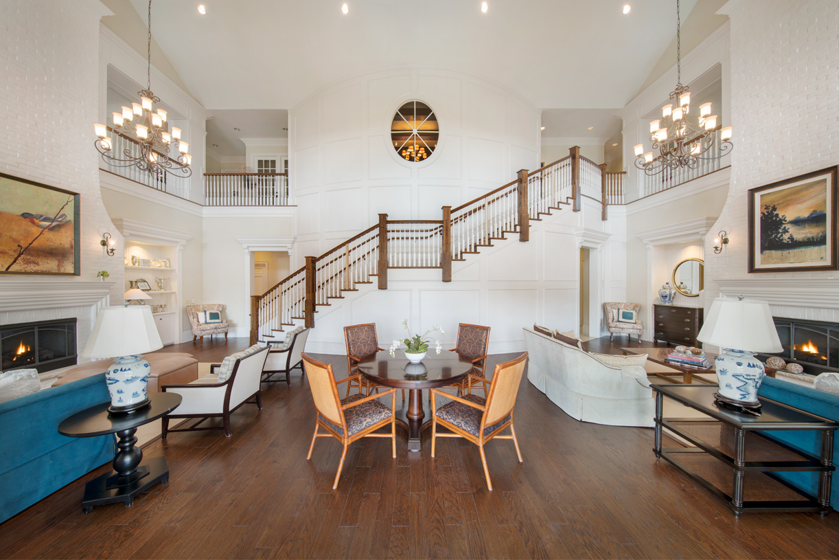 Two-Story Entertaining Space with Gas Fireplaces