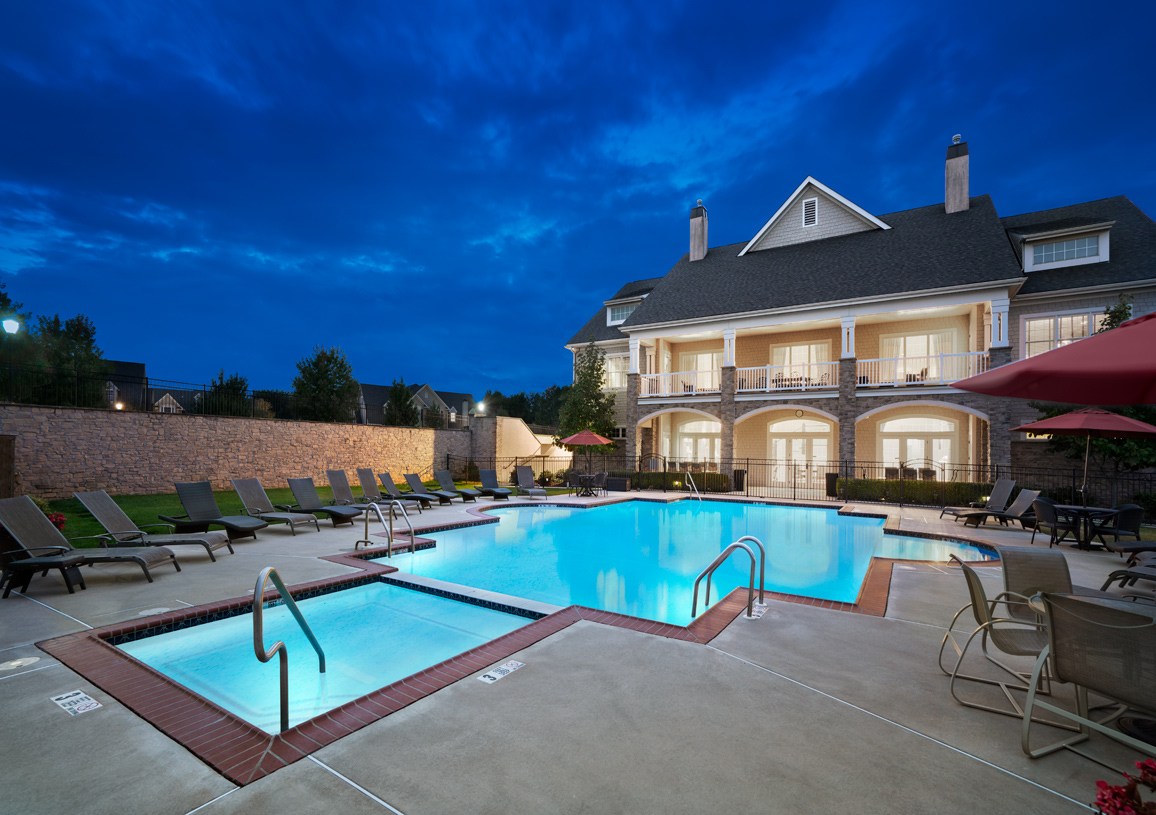 Pool with Upper and Lower Covered Porches