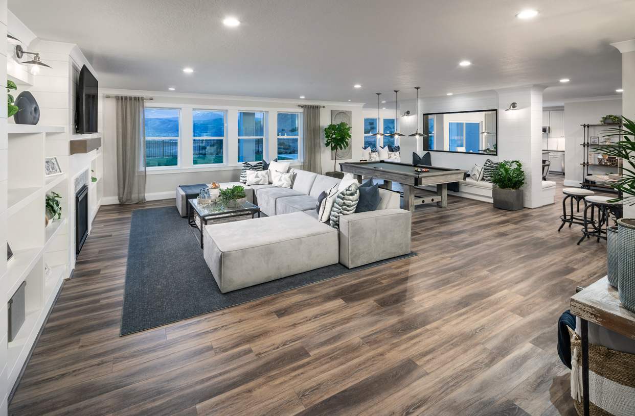 Beautiful open concept floor plans and cozy fireplaces