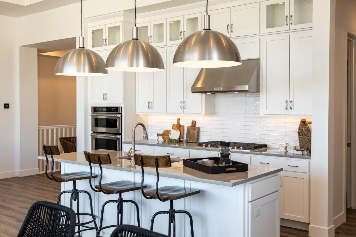Beautiful kitchen with breakfast bar for casual dining